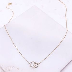 Dainty Intertwined Circles Brass Necklace